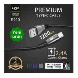 TYPE-C Işıklı Şarj/Senkronizasyon Kablosu